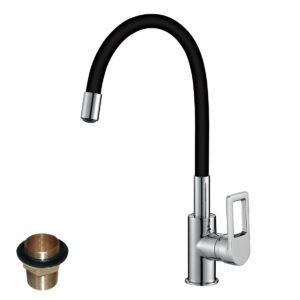 Смеситель Rossinka Z35-35U-Black для кухни с гибким цветным изливом