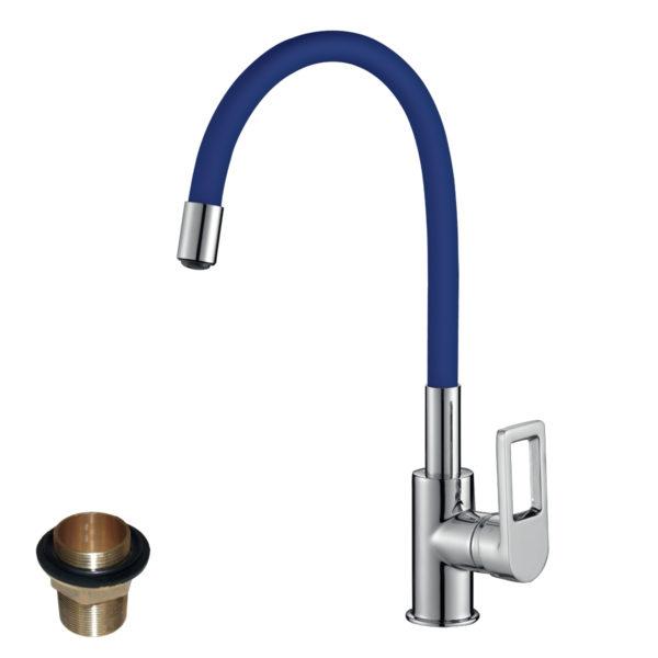 Смеситель Rossinka Z35-35U-Blue для кухни с гибким цветным изливом