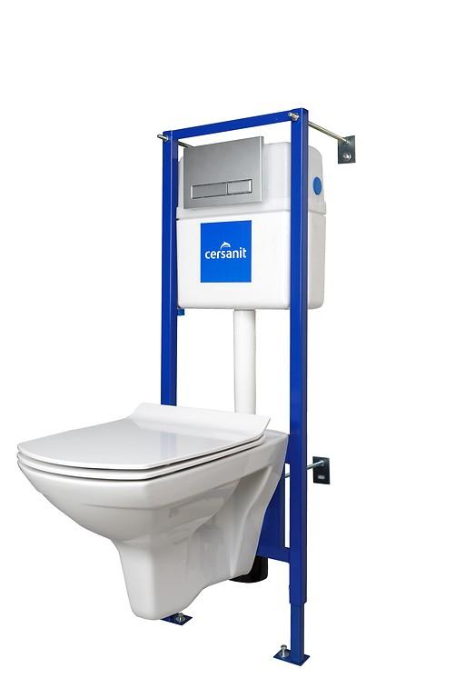 Система инсталляции Cersanit (Комплект carina new clean on + сиденье slim дюропласт микролифт + инсталляция link pro + кнопка blick хром матовая)